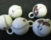 SALE Vintage Damaged Plastic Baseball Ball Charms Lot Supplies Altered Art 5 pcs