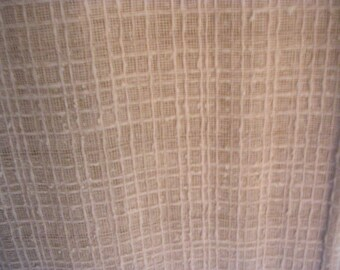 Vintage 2 Ivory Woven Macrame Drapery Panels Fabric LOT 97 x 26 Craft