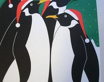 6 DIECUT PENGUIN Xmas Christmas Cards Tags w My Name But Unused Lot REDUCED...Stupid Enough to Have Left After the Kids are Married Supplies