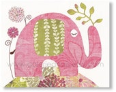 Elephant nursery girl room - pink and green kids decoration - personalized art for children  animal - Pink Lady print