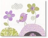 Baby Girl Nursery Decor Nursery art Kids Wall Art nursery wall art baby Nursery Birds nursery Flowers Purple Lavender - Parmi Les Fleurs