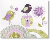 Nursery art prints  baby nursery decor nursery wall art Birds nursery Owl nursery Flowers Purple lavender - A Sunny Day by GalerieAnais