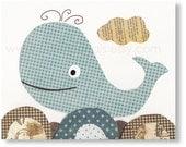 Nursery art prints - baby nursery - nursery decor - nursery wall art - kids art - Whale - In The Ocean print