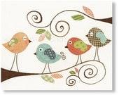 Baby Room Nursery Art - Children Decor - nursery wall art - kids room decor - birds nursery - kids birds - Gossip Birds