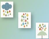 Cloud umbrella rain - baby nursery decor nursery art - kids art baby art  - Playroom girl and boy - Set of 3 Prints - Raining Colors