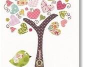 Kids wall art - nursery art prints - baby nursery decor - nursery art -  Birds Tree Pink - Tree Of Love print from Paris by GalerieAnais