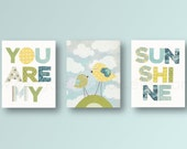 baby boy nursery decor nursery art decor Kids art yellow green bleu bird nursery art cloud words - Set of 3 Prints - You Are My Sunshine