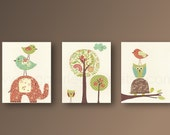 Nursery wall art nursery art baby nursery kids room decor owl elephant birds woodland tree Set of 3 Prints Beautiful Day