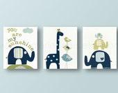 Baby Boy Nursery Decor Navy blue green You are My Sunshine nursery kids wall art elephant nursery birds giraffe nursery - Set of 3 prints