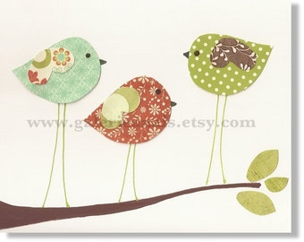 Nursery art prints - baby nursery decor - children wall art - kids room decor - nursery wall art - Birds - Three Little Birds print