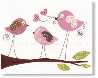 Nursery art prints - baby nursery decor - nursery art - Baby Room Decor Wall Art Birds - Love You so Much print from Paris