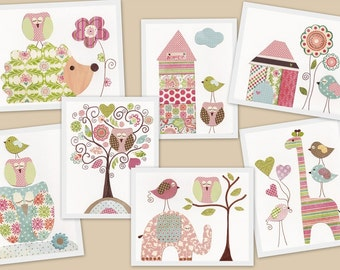 Nursery decor, Nursery wall Art - Hedgehog Owl Giraffe Elphant Birds House - Kids wall art - baby nursery art - Girls room - set of 7 prints