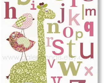 Nursery wall art - nursery decor - kids giraffe - nursery giraffe - nursery alphabet - kids alphabet - Elegance Alphabet print