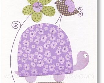 Kids wall art - purple and green nursery - baby nursery - kids room decor - nursery wall art - turtle nursery - Purple - Walking Together