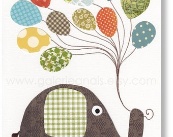 elephant nursery art prints - baby nursery decor - nursery wall art palyroom decor - Balloon - I Believe I Can Fly print