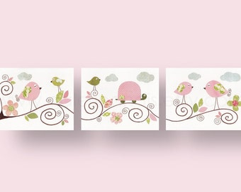 Set of 3 Prints - Les Oiseaux - baby nursery decor nursery wall art children wall art bird turtle kids art baby art