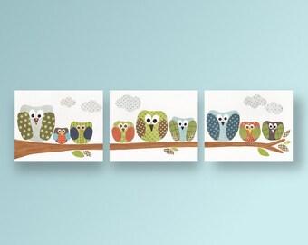 Blue green and orange nursery - nursery wall art - nursery bird - woodlland kids art - baby art nursery owls - Set of 3 prints- Les Hiboux