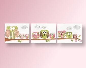 Owls Nursery Art Baby room wall art baby nursery decor - kids art - Girl room Artwork  - Set of 3 Prints -  Les Hiboux