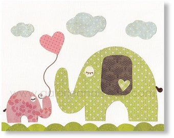 Baby art - Nursery wall art - baby nursery decor - nursery art - kids art print - baby elephant - I Love You Mommy print