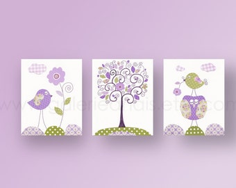Birds Nursery art Owl nursery wall art  baby nursery decor kids art Purple green Tree Nursery Forest Set of 3 Prints - Chic And Shabby