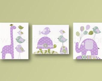 Girl room decor Nursery Art Baby Girl nursery decor turtle nursery giraffe nursery elephant nursery purple nursery birds set of 3 prints