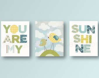 baby boy nursery decor nursery art decor Kids art yellow green bleu bird nursery art cloud words - Set of 3 Prints - You Are My Sunshine
