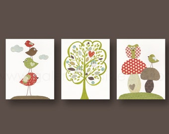 Nursery art prints baby nursery decor nursery art nursery wall art kids art bird tree owl woodland Set of 3 prints