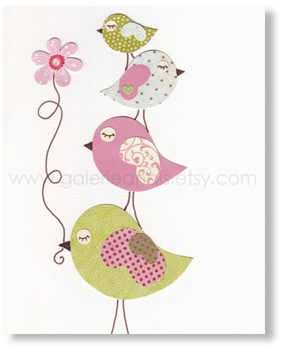 Pink And Green Nursery Childrens Art Print Kids By