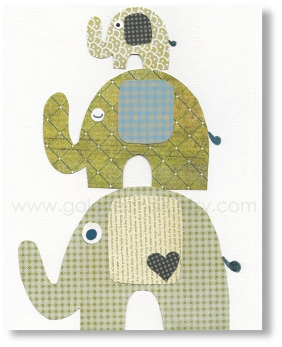 Green and blue nursery - boys room decor - baby art - nursery wall art - personalized - elephant nursery - The Trio print