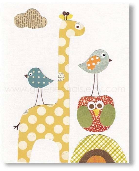 Nursery art prints - baby nursery decor - nursery wall art - kids art - nursery owl - giraffe nursery - birds - Tous Mes Amis