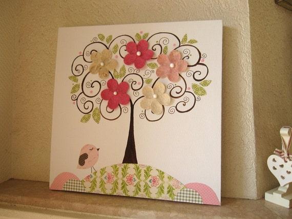 Unique Nursery Art Canvas Kids Room Painting Nursery Tree