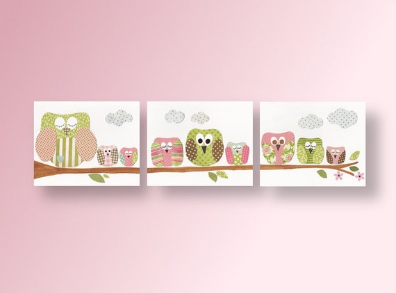 Owls nursery art Baby nursery decor nursery wall art  bird nursery Forest Woodland Set of 3 Prints - Les Hiboux