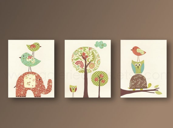Wall Art For Nursery Ideas : Nursery wall art baby kids room decor owl
