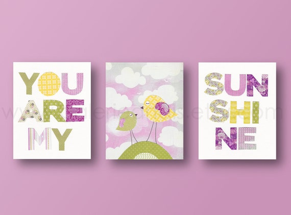 Girl Nursery Wall Art Kids wall art nursery baby decor wall kids bird cloud words Set of 3 Prints - You Are My Sunshine
