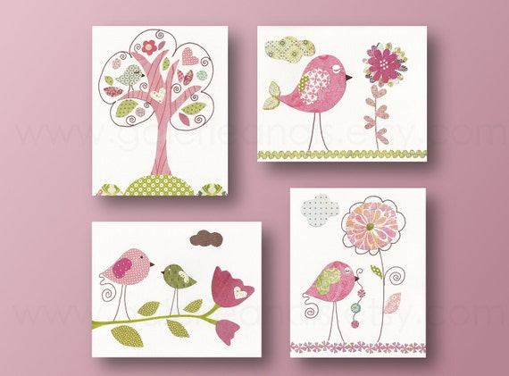 Girl nursery art baby nursery kids wall art children's room decor flower Birds tree Pink and green Set of 4 prints