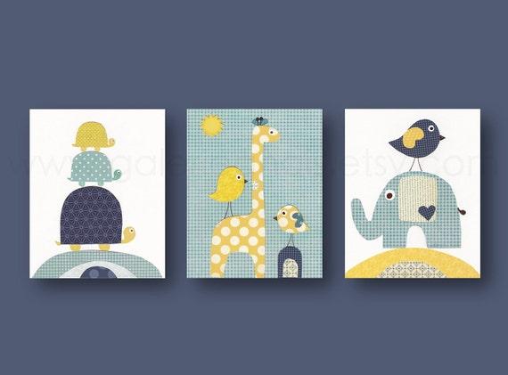 Baby boy nursery decor kids room decor nursery art navy blue yellow elephant nursery bird giraffe turtle Set of 3 prints Going Places