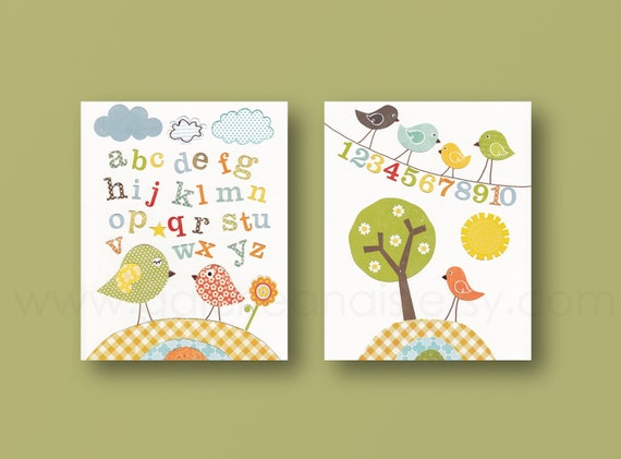 baby boy nursery decor art kids art kids room decor baby girl nursery bird alphabet numbers tree  Birdies School Set of 2 prints