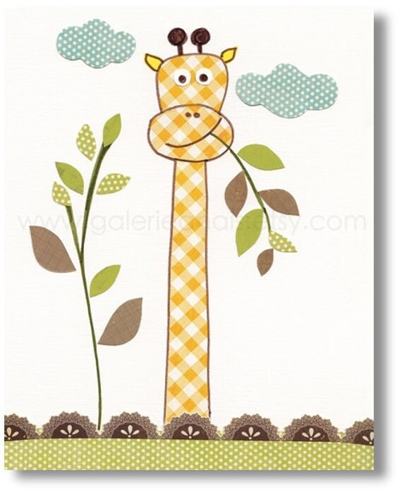 Baby Boy Nursery Decor Art Kids Art Kids Room By Galerieanais: Giraffe Nursery Art For Children Nursery Print By GalerieAnais