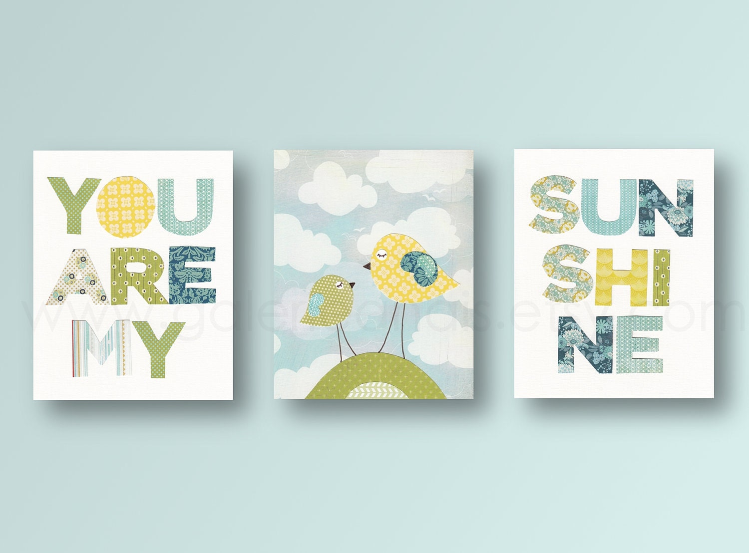 Set of 3 prints you are my sunshine art baby by galerieanais for Nursery wall art