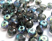 Teeny Tiny Slate AB Faceted Glass Rondelles 2x3mm (50)