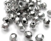 RESERVED FOR LORRAINE ------ Metallic Silver Coated Fire Polished Faceted Glass Beads 4mm (500)