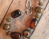Chuncky Statement Choker Stone lamp work Beaded KALEIDOSCOPE 9 Rootbeer and Natural Agate with Swarovski and Sterling Chain Choker