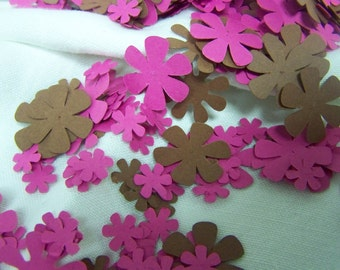 Chocolate and Magenta Flower Table Confetti