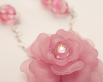 Romantic Pink Rose and Glass Necklace
