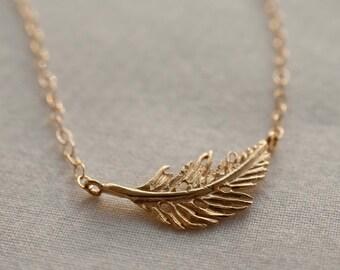 Simplistic Golden Feather Pendant Necklace