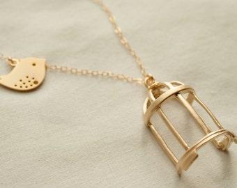 Gold Flown the Coop Pendant Necklace