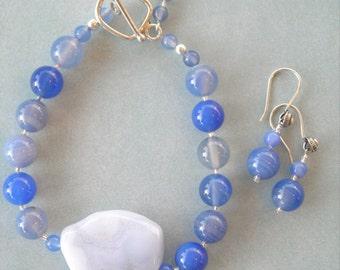 Blue Agate Bracelet and Earring Set