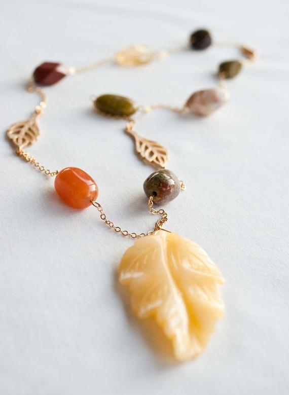 Textured Fall Leaf Gemstone Necklace