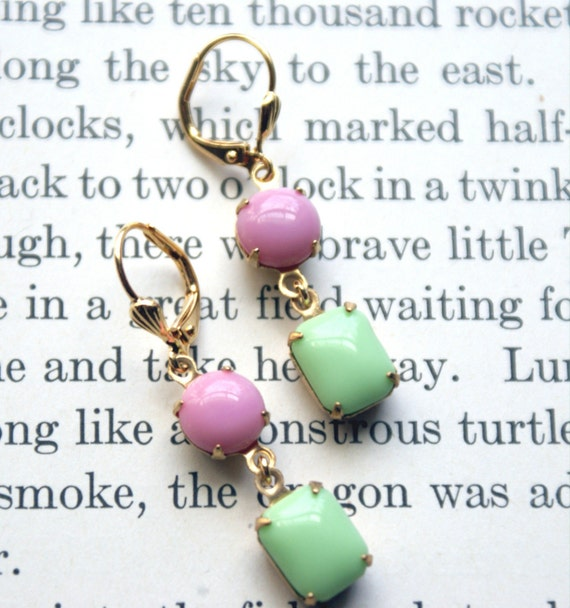 ON SALE Pastel Vintage Glass Stone Earrings