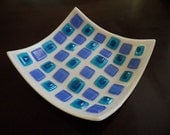 Blue & White Fused Glass Dish